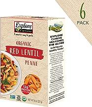 Explore Cuisine Organic Red Lentil Penne (6 Pack) - 8 oz - High Protein, Gluten Free Pasta, Easy to Make - USDA Certified Organic, Vegan, Kosher, Non GMO - 24 Total Servings