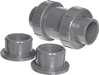 Hayward TC10200STE Series TC True Union Ball Check Valve, Socket/Threaded End, PVC with EPDM Seals, 2