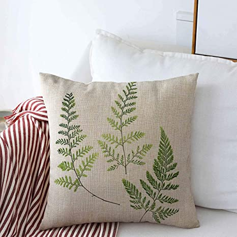 Amazon Com Starogs Throw Pillow Covers 18 X 18 White Green Leaf Three Fern Leaves Nature Foliage Botanical Branch Curve Delicate Design Cushion Cotton Linen Case For Fall Home Decorative Home Kitchen