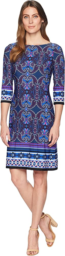 Scroll Paisley Stripe 3/4 Sleeve Dress