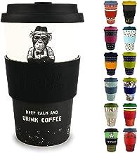 Morgenheld Dein trendiger Bambusbecher   Coffee-to-Go-Becher   Kaffeebecher mit Silikondeckel und Banderole in coolem Design 400 ml Füllmenge (Monkey)