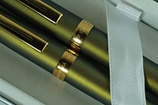 Sheaffer Signature Made in The USA Prelude Lightning Incandescent Green with 22 KT Gold l Appointments Rollerball Pen, Ballpoint Pen and Sheaffer Journal Corporate Set in Sheaffer Gift Box,