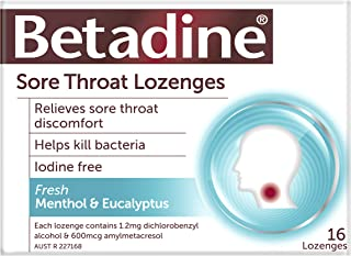 Betadine Sore Throat Lozenges Menthol & Eucalyptus 16