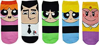 Powerpuff Girls Socks Costume (5 Pair) - (Women) PPG Characters Day Saved Low Cut Socks - Fits Shoe Size: 4-10 (Ladies)