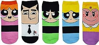 Powerpuff Girls Costume Socks (5 Pair) - Low Cut - Fits Shoe Size: 4-10 (Ladies) (Chibi)