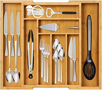 Amazon Com Kitchen Drawer Organizer Expandable Bamboo Silverware Tray For Drawers Utensils Drawer Organizer Multi Functional Silverware Holder For Kitchen Cutlery And Flatware By Furninxs