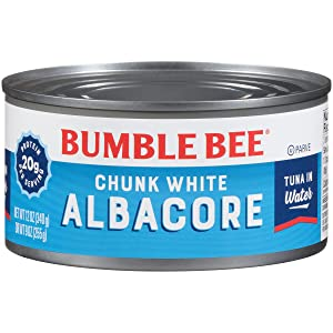 BUMBLE BEE Chunk White Albacore Tuna in Water, 12 Ounce Can (Pack of 12), Wild Caught, Canned Tuna, High Protein, Keto Food, Keto Snack, Gluten Free, Paleo Food, Canned Food