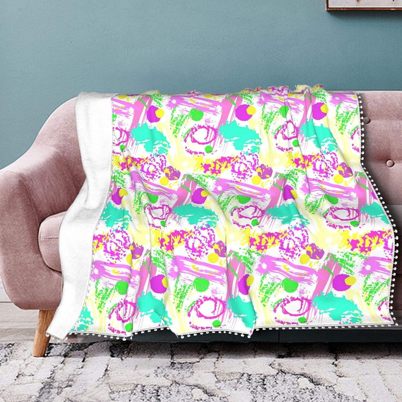 Printed Throw Lowest price challenge Blanket San Jose Mall for Pom Bedroom Fringe