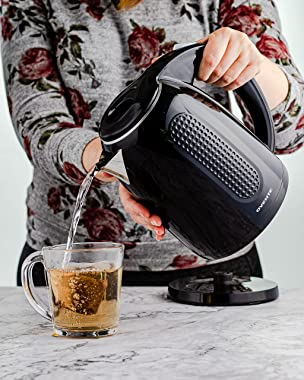 Ovente Portable Electric Kettle 1.7 Liter, Double Wall Insulated Stainless Steel BPA-Free Countertop Tea Maker Hot Water Boil
