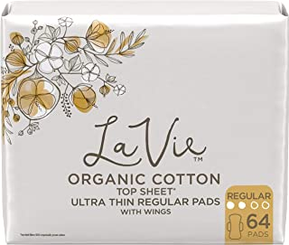 La Vie Organic Cotton Top Sheet* Feminine Pads with Wings, Regular, Ultra Thin, 64 Count (4 Packs of 16) (Packaging May Vary)