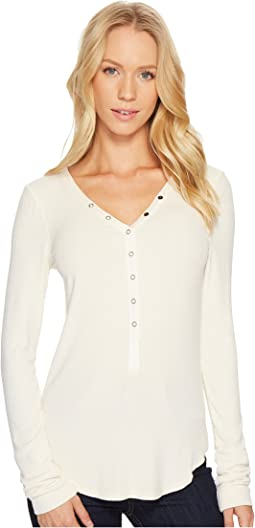 Three Dots Viscose Rib Henley
