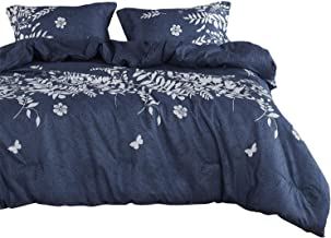 Wake In Cloud - Navy Blue Comforter Set, Gray Floral and Tree Leaves Pattern Printed, Soft Microfiber Bedding (3pcs, Queen Size)