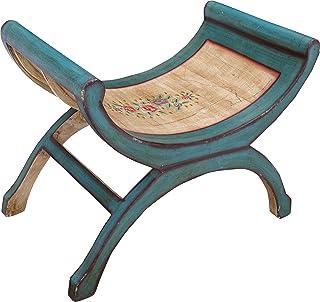 Guru-Shop Banc Semi-circulaire, Turquoise, Boisd`acacia, 54x68x41 cm, Meubles D`assise