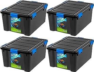 Large Deep Weathertight Storage Box, 60 Qt Black, 4-Pack