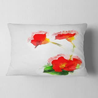 Designart Red Gentiana Alpina Watercolor' Floral Throw Lumbar Cushion Pillow Cover for Living Room, sofa 12 in. x 20 in