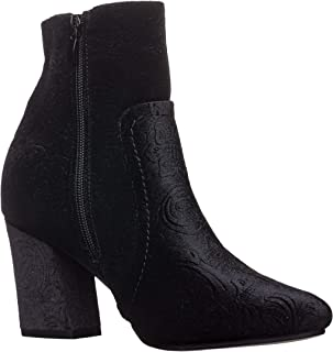 Kayla-01 Womens Chunky Heel Velvet Design Round Toe Booties