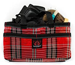 Kensington Horse Grooming Tote Bag —  Handy Upright Stow Away in Vibrant Plaid Designs — Very Durable with Lots of Storage Compartments — 12
