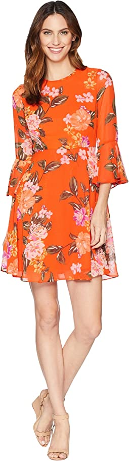 Printed Chffon Fit and Flare Dress with Bell Sleeve