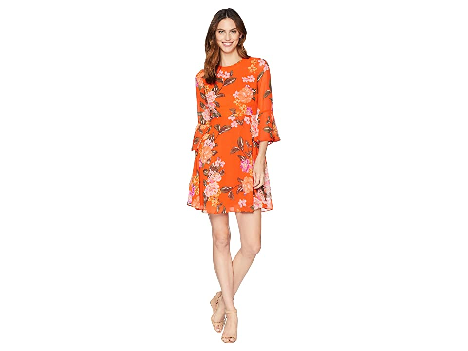 Donna Morgan Printed Chffon Fit and Flare Dress with Bell Sleeve (Orange/Lavender Multi) Women