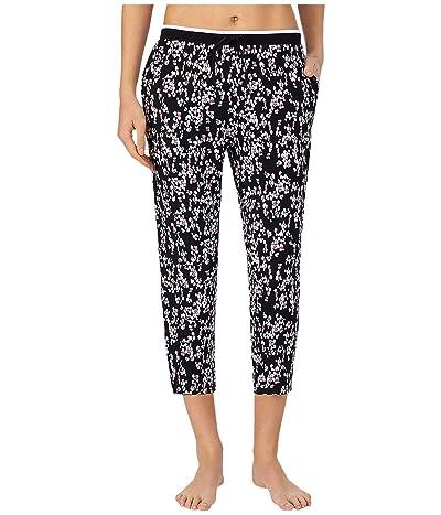 Donna Karan Modal Spandex Jersey Capris Pants (Black Pebble) Women