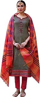 ساري سادة مطرز من الحرير من ladyline مع فستان الباستا الهندي باكستاني للنساء