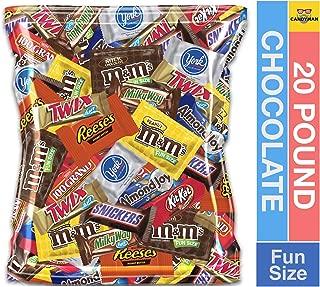 (20 Pound) Variety Assortment Chocolate Mix Bulk Pack M&M's Peanut, M&M's Plain, Reese's Peanut Butter Cups, Snickers, Kit Kat,Twix, Milky Way, Almond Joy, 100 Grand,York Peppermint Patties