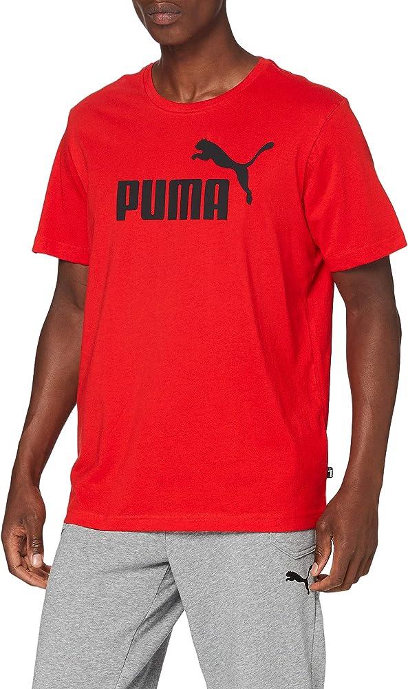 Puma ess logo tee maglietta t-shirt a maniche corte da uomo 100% cotone 851740