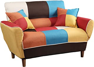 Convertible Upholstered Sofa,Couch Linen Fabric Loveseat,Chair Full Size Sleeper Bed with Solid Wood Frame Legs and 2 Pillows for Dorm, Living Room, Mixed Color