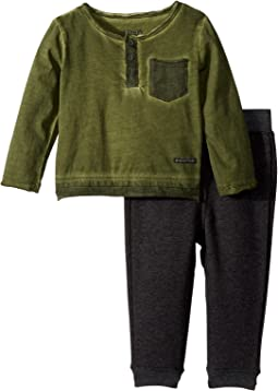Hudson Kids - Two-Piece Henley Top w/ Jogger Pants Set (Infant)
