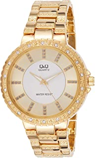 Q&Q Women's Gold Dial Stainless Steel Band Watch - F507-011Y