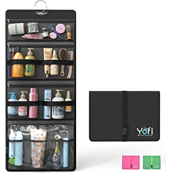 Yofi Nurture Yourself Multi-Compartment Hanging Toiletry Bag | 29.5x12.5in Foldable Mesh Storage for Travel Accessories, Cosmetic Makeup Kit | Waterproof Bathroom Organizer, Shower Essentials Holder