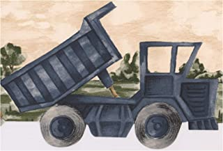 Wallpaper Border - Truck Tractor Motorcycle Car Scalloped Kids Wall Border Retro Design, Prepasted Roll 15 ft. x 6 in.