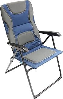 Homecall - Silla de jardín plegable acolchada con respaldo de malla ajustable (azul/gris)