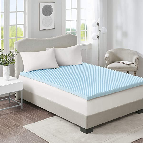 Sleep Philosophy Flexapedic Gel Memory Foam Mattress Protector Cooling Bed Cover King Blue