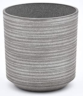 TABOR TOOLS Plastic Round Planters, 9 Inch, Light Weight, Includes Drainage Hole with Plug, Natural Modern Look and Stylish Finish. VB105A. (Ribbed Finish - Light Grey)