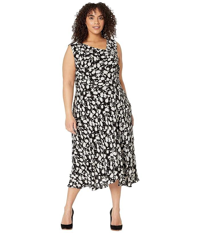 Adrianna Papell  Plus Size Draped Pebble Crepe A-Line Dress (Black/Ivory) Womens Dress
