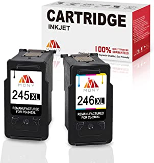 Mony Remanufactured Ink Cartridge Replacement for Canon PG-245 CL-246 XL (1 Black, 1 Tri-Clour, 2-Pack) Used in Canon Pixma MX492 MX490 MG2520 MG2922 IP2820 MG2920 Printers