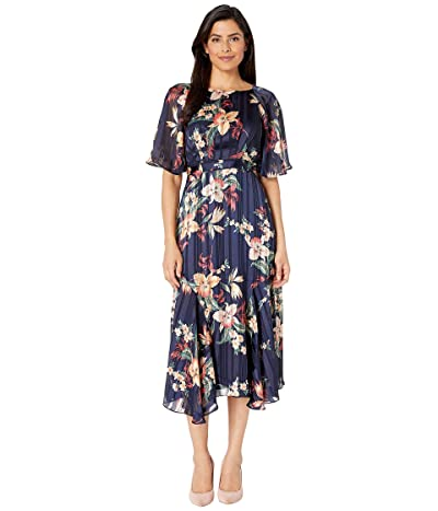 Maggy London Tropical Orchid Satin Stripe Fit and Flare Dress (Navy/Peach) Women