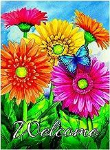 ALAZA Welcome Butterfly Flowers Sunflower Daisy House Flag Garden Banner 28