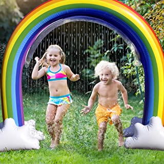 GoSlaz Inflatable Rainbow Sprinkler Toy - Kids Sprinklers for Outside - Fun Outdoor Water Play Sprinkler for Toddlers - Huge Colorful Back Yard Toddler Summer Toys - Easy to Set Up - Great Party Prop