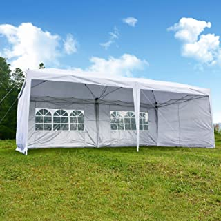charaHOME Canopy Tent Pop Up Canopy Instant Tent Ez Up 10x20 White Portable Shade Folding Outdoor Shelter Heavy Duty Tent for Parties Wedding Commercial Activity BBQ with 4 Removable SideWalls