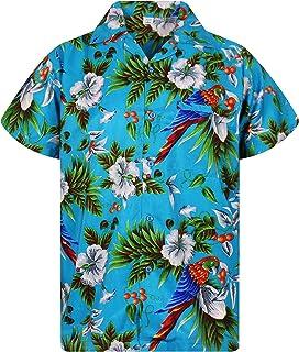 Funky Camicia Hawaiana | Uomo | XS - 12XL | Manica Corta | Tasca-Frontale | Stampa Hawaiano | Cherry Parrot | Vari Colori