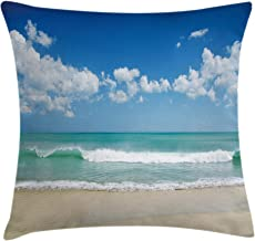 Modern Decor Throw Pillow Cushion Cover by Ambesonne, Sandy Beach with Bright Skyline in the Island Coastal Peaceful Print, Decorative Square Accent Pillow Case, 18 X18 Inches, Turquoise Cream