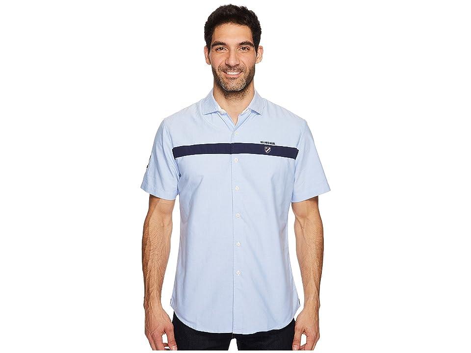 U.S. POLO ASSN. Classic Fit Short Sleeve Sport Shirt (Light Blue) Men