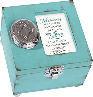 Memories Hold Love Never Forget 4.5 x 4.5 inch Distressed Coral Wood Locket Jewelry Keepsake Box