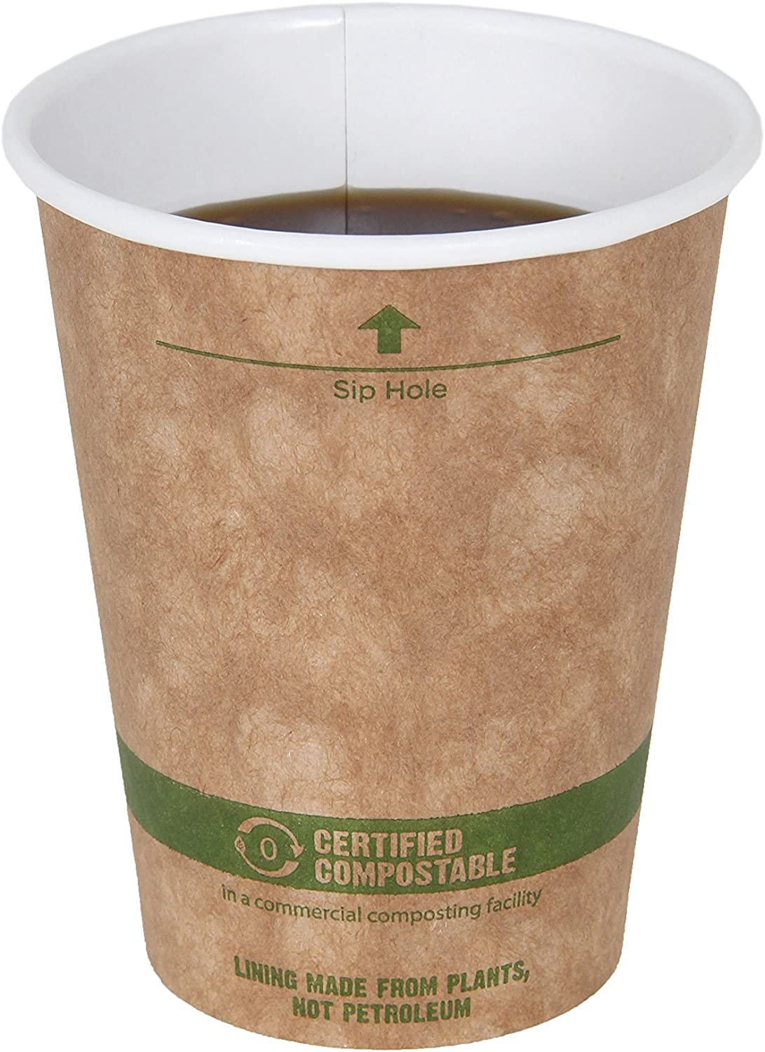 World Centric 100% Biodegradable, 100% Compostable Paper PLA-Lined 8 Ounce Kraft Coffee Hot Cup, 50 Pack