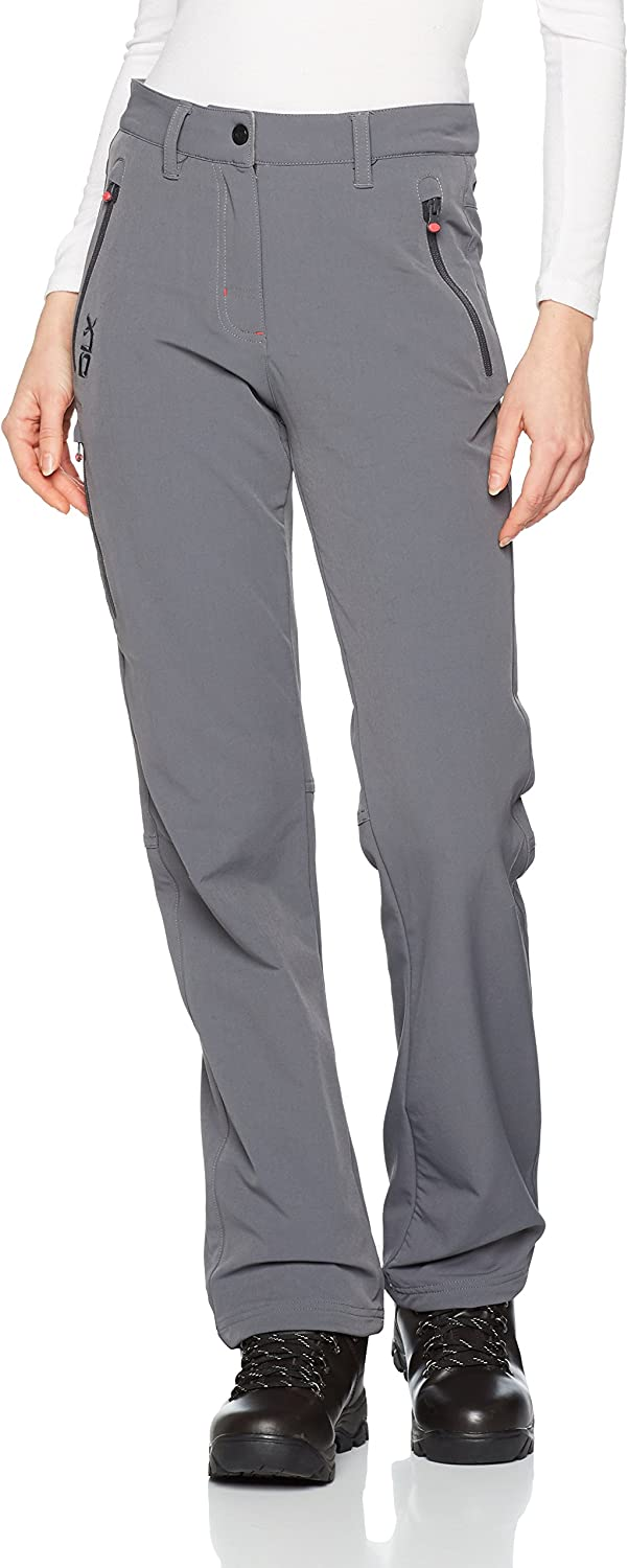 Trespass Swerve Womens DLX Quick Dry Pants Active Walking Black Grey Trousers
