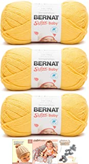 Bernat Softee Baby Acrylic Yarn 3 Pack Bundle Includes 3 Patterns DK Light Worsted #3 (Buttercup)