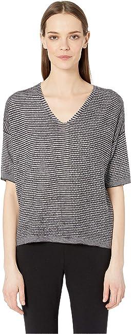 Organic Linen Knit V-Neck Elbow Sleeve Top