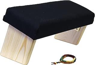 Mudra Crafts Foldable Meditation Bench, Kneeling Chair, Yoga Stool from Wood with Seat Cushion for Seiza, Zazen, Meditating (Black Cushion)